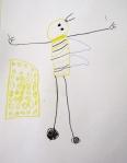 Ein Mischwesen aus Biene und Mensch, gezeichnet von einem Kindergartenkind